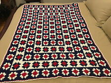 Handmade Afghan / Throw Blanket - Designer Collection - Red, White & Blue Square