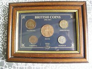 BRITISH COIN SET PRE- 1967  5 COINS  FRAMED  SEALED  British Coin Set pre 67