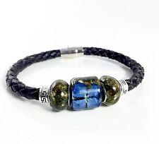 Men's Jewelry Marijuana Bud Bead, Cannabis Leather Bracelet New Handmade. Hemp!