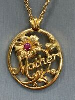 """Avon Mother Vintage Pendant Necklace Gold Tone With Ruby Chain Year 1992 18"""""""