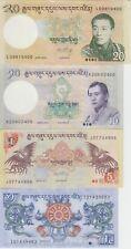 Bhutan Banknote P21-28-29-30,  1-5-10-20 Ngultrum 2011-2013, UNC