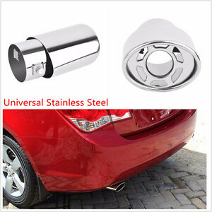 Car Auto Stainless Steel Chrome Silver Round Tail Muffler Exhaust Pipe Tip Cover