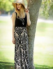 BOUTIQUE BOHO TANK MAXI DRESS BLACK / TAUPE DAMASK SIZE X-LARGE NEW