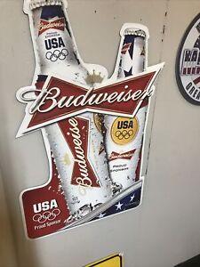2012 Budweiser Beer Proud Sponsor of USA Olympics Tin Sign Metal Tacker