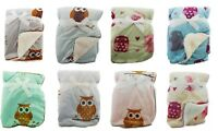 Baby Soft Fleece Owl Design Blanket Pram Crib Moses Basket Girl Boy Unisex