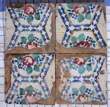quattro riggiole piastrelle mattonelle maioliche antiche in cotto 20x20 lotto191
