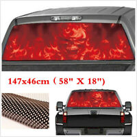Red Flaming Skull Rear Window Tint Graphic Decal Wrap Back Truck Car Sticker