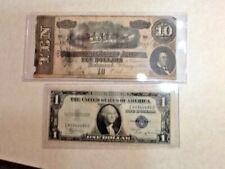 1864 $10 Confederate Note A & 1935 B $1 Silver Certificate Lot Of 1 Each