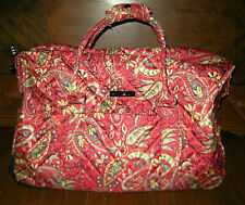 Cynthia Rowley Red Paisley Convertible Rolling Travel Bag Carry-On Luggage 20""
