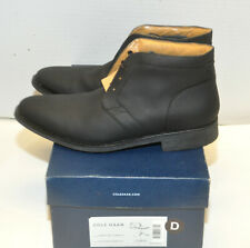 COLE HAAN Mens Stanton Chukka II Black Leather Lace up Ankle Boot Sz 7.5 - MINT
