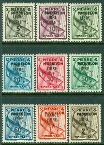 EDW1949SELL : ST PIERRE 1942 Scott #J58-66 All PO Fresh & VF, Mint NH. Cat $178.