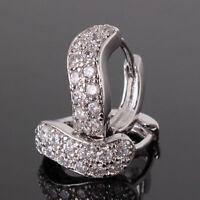 18K White Gold Diamond Hoop Earrings 215