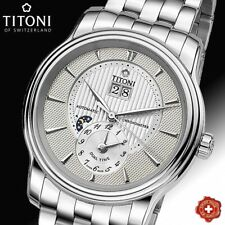 TITONI, AUTOMATIC, DUAL TIME, SILVER DIAL, COSC CHRONOMETER, 94981 S-390, SWISS
