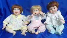 Vtg Danbury Mint (3) Sitting Baby Porcelain & Cloth Dolls - Mark Mbi 1990 & 1992