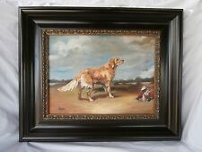 OLD WORLD HUNTING DOG DEAD GAME GOLDEN RETRIEVER IN AN EXTENSIVE LANDSCAPE O/C