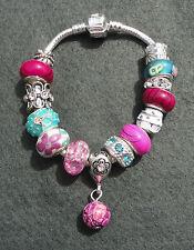 Cerise Pink Aqua Blue Sparkle Rhinestone European Style Dangle Charm Bracelet