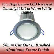 15 watt LED Recessed Downlight Kit in Warm White with Silver Frame