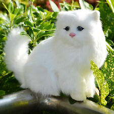 Realistic White Persian Cat Soft Furry Kitty Figurine Photo Prop Desk Decoration