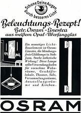 OSRAM Linestra da bianco Opal-di cattura vetro storica la pubblicità di 1937