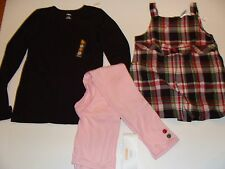Gymboree Pups and Kisses Plaid Top Shirt Jumper Pink Leggings Girls Size 9 NWT