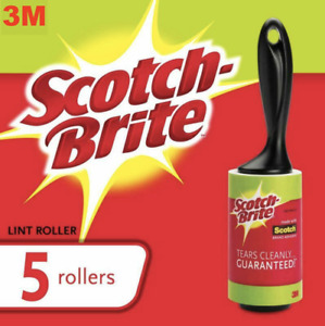 3M Scotch Brite Lint Roller Pet Dog Cat Hair & Fluff Remover 5 Rolls Jumbo Rolls