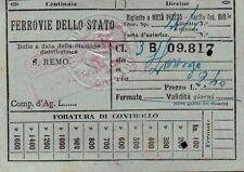 BILLET DU TRAIN 1933 CHEMINS DE FER DELLO STATO SANREMO - SAINT LORENZO 21-108