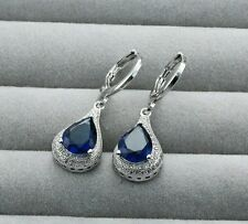 ,925 Sterling Silver Earrings Sapphire Crystal Zircon Ear Studs !