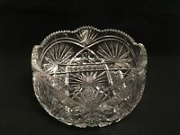 Vintage Cut Crystal Fruit Bowl With Castellated Rim