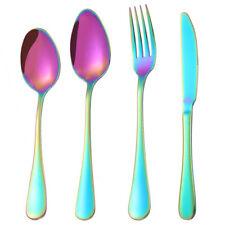 Stainless Steel Cutlery Sets Iridescent Spoon Fork 4/16/ 24/32 piece Set Rainbow