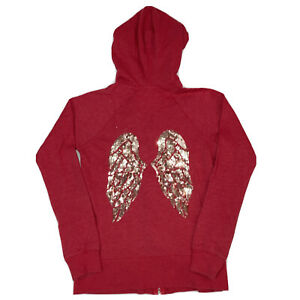 Victoria's Secret Hoodie Zip Up Sweatshirt Angel Wings on back Red SIze XS