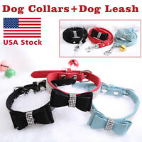 Pet wedding Bling  Collar PU Leather Buckle Dog Collar Neck Strap with dog leash