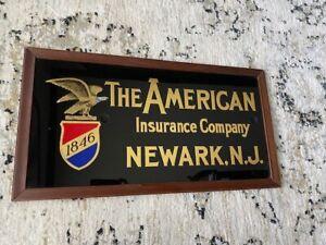 NEWARK N.J. New Jersey The American Insurance Company ROG Glass Sign ca 1920 ?