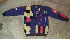 BEREK New York Soccer Cardigan 1988 Pima Cotton Size Small Hand Knit Marta D.