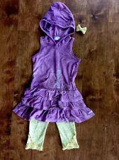 NAARTJIE Crush Dye Skin Hooded Dress+Capri/Legging Lace Set Outfit 3/4NEW