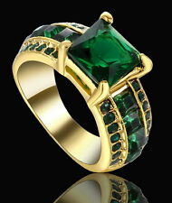 Lady/Women's Men's14KT yellow Gold Green Emerald Wedding Ring Gift size 6 CZ
