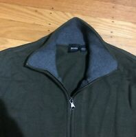 Hugo Boss Zip Up Men Sweater Jacket M Army Green Cotton Bomber Virgin Wool