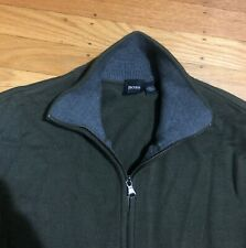 Hugo Boss Zip Up Men Sweater Jacket M Army Green Cotton Bomber Virgin Wool