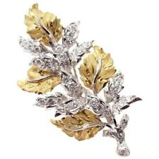 Authentic! Buccellati Diamond Leaf 18k Yellow And White Gold Brooch Pin