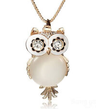 10Pcs Lovely Crystal Rhinestone Gemstone Opal Owl Necklace Chain-Wholesale