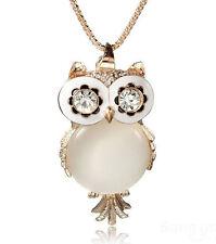 Fashion Lovely Crystal Rhinestone Gemstone Opal Owl Necklace Chain