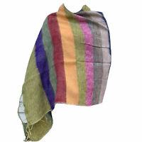 Women's Yak Wool Shawl Warm Soft Stole Ladies Scarf Nepalese Stripped Body Wrap