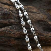 "Genuine Solid 925 Sterling Thai Silver Skull Polish Chain Men's Necklace18""-26"""