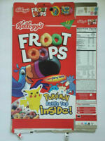 KELLOGG'S FROOT LOOPS  EMPTY CEREAL BOX POKEMON BATTLE TOP 2000