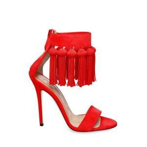 Brian Atwood Pepper Red Kid Suede Sandals Dangling Fringe Tassels