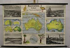 Schulwandkarte Wandkarte Australien Ozeanien Känguruh Emu Halbkugel 100x66 ~1960