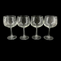 """Vintage Set of 4 Clear Glass Chardonnay Wine Glasses Faceted Stemware 6 3/8"""""""