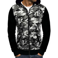 Mens Army Hoodie Full Zip Jacket Camo Fleece Zipper Hoody Top Camouflage UK 8-26