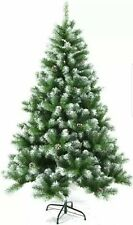 9 ft CHRISTMAS TREE HOLIDAY + STAND SNOW FLOCKED PINE CONES PVC New Open Box