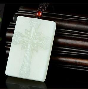 Natural jade Pendant statue jade Pendant White Necklace Amulet Cross Jesus