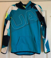 Under Armour Hoodie Youth M Cold Gear Boys Girls Loose Turquoise Blue